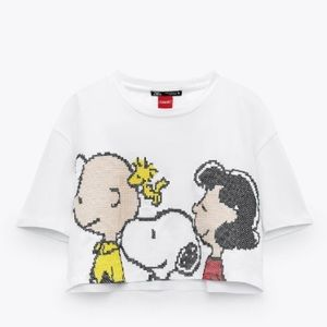 Snoopy Cropped Tee Size L NWT